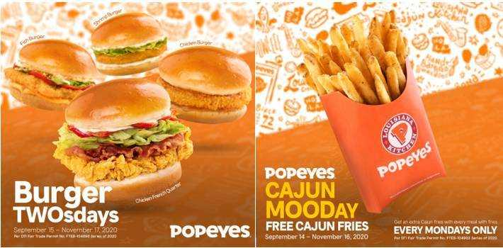 Great deals on Burgers and Free Cajun Fries  with Popeyes' Monday and Tuesday promos